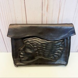 One of a Kind Vintage LEATHER CLUTCH Purse Bag